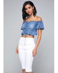 Bebe - Chambray Lace Up Crop Top - Lyst