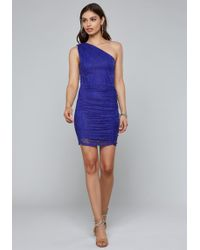 Bebe - Lace One Shoulder Dress - Lyst