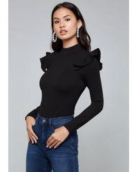 Bebe - Ruffle Shoulder Bodysuit - Lyst