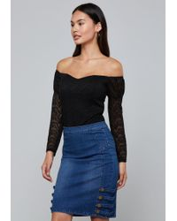 Bebe - Lace Off Shoulder Bodysuit - Lyst