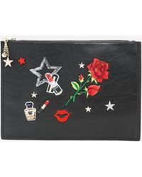 51e1c3fba89 Lauren Moshi Lusha All Over Emoji Patches Luxury Clutch in Black - Lyst