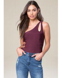 Bebe - Knit One Shoulder Bodysuit - Lyst