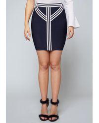 Bebe - Striped Band Skirt - Lyst