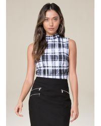 Bebe | Black & White Plaid Top | Lyst