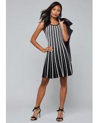 5feb53a6d0 Bebe Wide Multi Stripe Sweater Dress in White - Lyst
