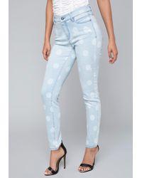 Bebe - Polka Dot Jeans - Lyst