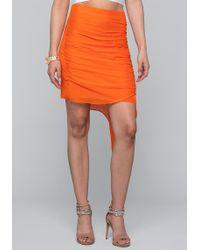 Bebe - Shirred Asymmetric Skirt - Lyst
