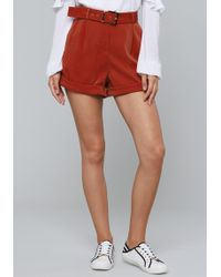 Bebe - Buckle Belt Soft Shorts - Lyst