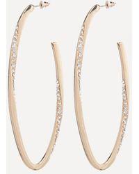 Bebe - Crystal Oval Hoop Earrings - Lyst