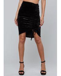 Bebe - Ruched Crushed Velvet Skirt - Lyst