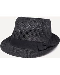 Bebe - Bow Band Straw Trilby - Lyst