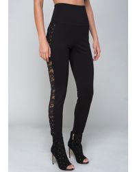 Bebe - Side Lace Leggings - Lyst