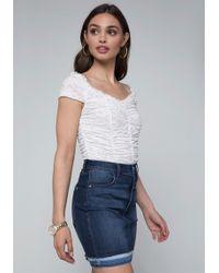 Bebe - Shirred Lace Bodysuit - Lyst