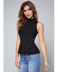 Bebe - Jessica Ponte & Lace Top - Lyst