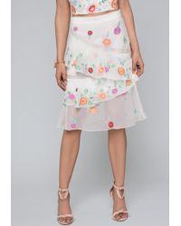 Bebe - Embroidered Flower Skirt - Lyst