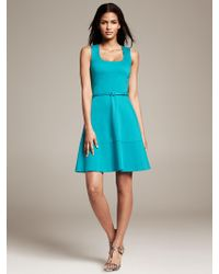 Banana Republic Belted Ponte Fit and Flare Dress  - Lyst