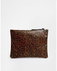 Falconwright - Leather Clutch Leopard Print - Lyst