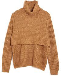 Mason by Michelle Mason Knit Layer Turtleneck Sweater orange - Lyst
