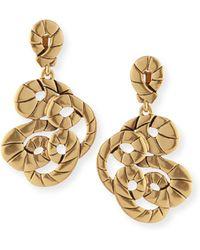 Oscar de la Renta Golden Swirl Clip-On Drop Earrings - Lyst