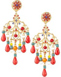 Jose & Maria Barrera Beaded Chandelier Clip Earrings red - Lyst