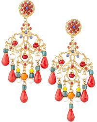 Jose & Maria Barrera Beaded Chandelier Clip Earrings - Lyst
