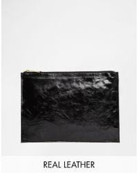 Asos Leather Zip Top Clutch Bag - Lyst