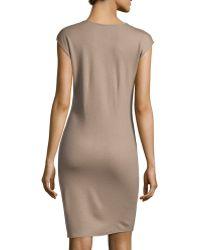 Halston Capsleeve Vneck Woolknit Wrap Dress - Lyst