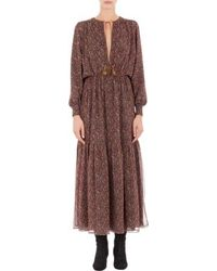 Saint Laurent Paisley Maxi Peasant Dress - Lyst
