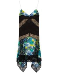 Just Cavalli Printed Silkchiffon and Lace Slip Dress - Lyst