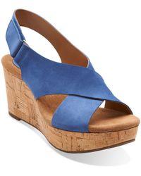 Clarks Caslynn Shae Leather Open-toe Wedge Sandals - Blue