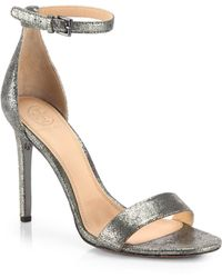 Tory Burch Keri Crackled Metallic Leather Sandals - Lyst