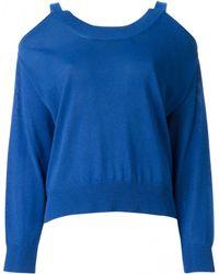Maison Margiela Blue Exposed Shoulder Sweater - Lyst