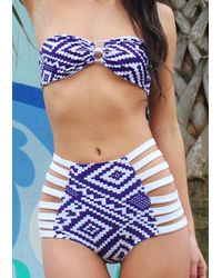 52ad7b357ca8 Belle lily Bandage Strapless High-waist Bikini Set in Red | Lyst
