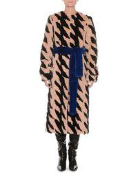 Attico - Belted Mink Fur Intarsia Long Coat - Lyst