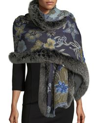 Belle Fare - Wool Paisley Wrap W/ Fur Trim - Lyst