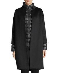 Fleurette - Nehru-collar Wool Coat W/ Detachable Lightweight Puffer Jacket - Lyst