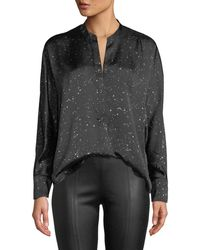 Vince - Constellation-print Satin Popover Blouse - Lyst