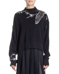 Sacai - Floral-embroidered Mock-neck Pullover Sweater - Lyst