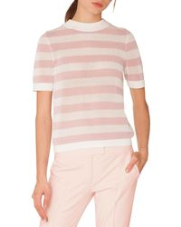 Akris Punto - Crewneck Short-sleeve Striped Knit Pullover Top - Lyst