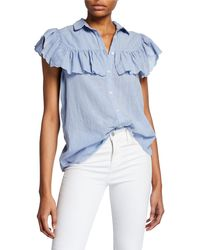 The Great - The Scallop Campfire Ruffle Button-front Top - Lyst