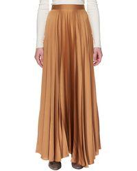 The Row - Vailen Pleated Satin Maxi Skirt - Lyst