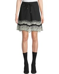 McQ - Flared Drawstring Short Skirt With Lace Trim - Lyst
