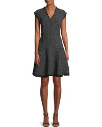Rebecca Taylor - Sleeveless V-neck Sparkle Tweed Fit-and-flare Dress - Lyst