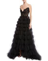 Oscar de la Renta - Strapless Sweetheart Lace Bustier Circle-cutout Tulle Evening Gown - Lyst