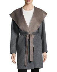Fleurette - Double-face Hooded Wool Wrap - Lyst