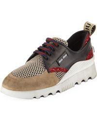 Miu Miu - Mixed Platform Sneakers - Lyst