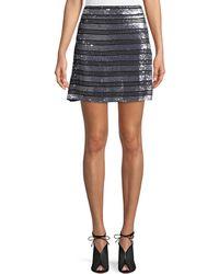 10 Crosby Derek Lam - Striped Embellished Silk A-line Mini Skirt - Lyst