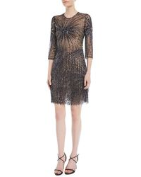 Naeem Khan - 3/4-sleeve Fringe-embellished Cocktail Dress - Lyst