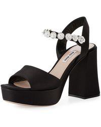 Miu Miu - Jeweled Satin Platform Sandal - Lyst