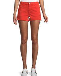 J Brand - Low-rise Shorts W/ Frayed Hem - Lyst